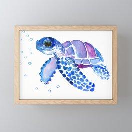 Blue Purple Sea Turtle, Turtle for nursery Framed Mini Art Print