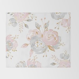 Roses Gold Glitter Pink by Nature Magick Throw Blanket