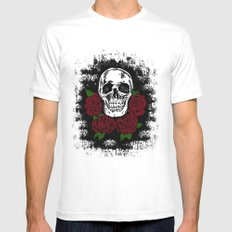 Skull and Rose Mens Fitted Tee MEDIUM White