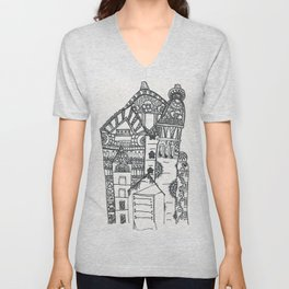 45. Halloween Castle with Henna Wall Unisex V-Neck