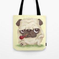 pug Tote Bags featuring Pug by Toru Sanogawa