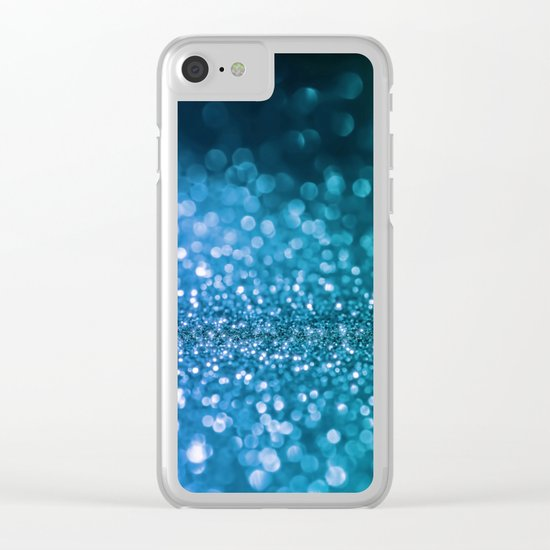 Foam on the sea - Blue glitter effect texture Clear iPhone Case