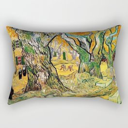 Road Works at Saint-Remy by Vincent van Gogh Rectangular Pillow