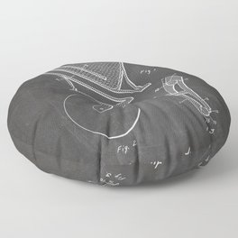 Toilet Patent - Bathroom Art - Black Chalkboard Floor Pillow