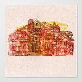 Letterpress Houses 3 Canvas Print