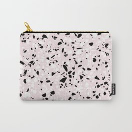 'Speckle Party' Blush Pink Black White Dots Speckle Terrazzo Pattern Carry-All Pouch