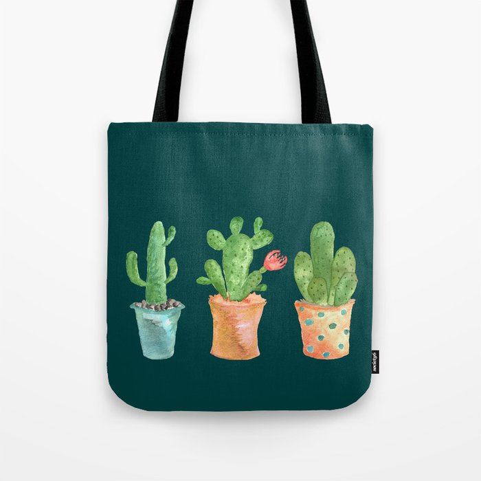 Three Green Cacti On Green Background Tote Bag