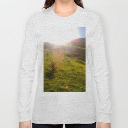 cable bay blue lagune green grass sheep Long Sleeve T-shirt