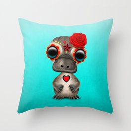 Red Day of the Dead Sugar Skull Baby Platypus Throw Pillow