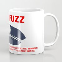 hot fuzz Mugs featuring Hot Fuzz Movie Poster by FunnyFaceArt