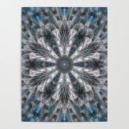 Turquoise on black and white mandala Poster