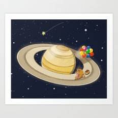Sloth Happy Ride on Saturn Art Print