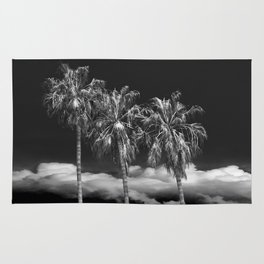 Palm Trees in Black and White on Cabrillo Beach Rug