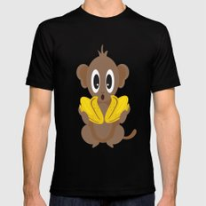 Lil Monkey in Blue MEDIUM Mens Fitted Tee Black