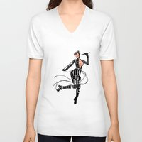 catwoman V-neck T-shirts featuring Catwoman by Ayse Deniz