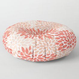Flowers Pattern, Coral, Pink, Floral Prints Floor Pillow