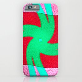 Colorful red and green spiral swirling elliptical constellation star galaxy abstract design iPhone Case