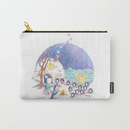 PenguinGirl and her Music Maker Penguins Bring Love, Laughter and Light by the Sea Carry-All Pouch