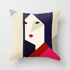 geometric girl Throw Pillow