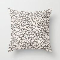 boyfriend Throw Pillows featuring A Lot of Cats by Kitten Rain