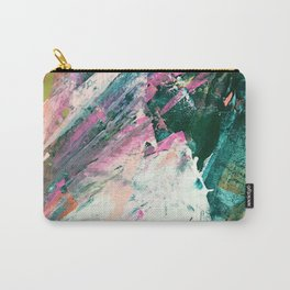 Meditate [5]: a vibrant, colorful abstract piece in bright green, teal, pink, orange, and white Carry-All Pouch