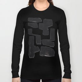 Black And White Minimalist Mid Century Abstract Ink Art Abnormal Organic Shapes Tribal Long Sleeve T-shirt