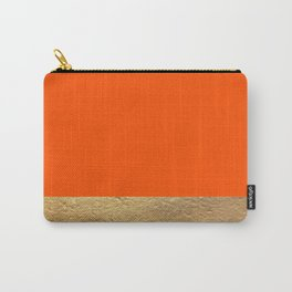 Color Blocked Gold & Poppy Carry-All Pouch