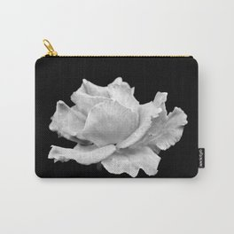 White Rose On Black Carry-All Pouch