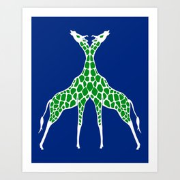 Giraffe Lovers - Green Art Print