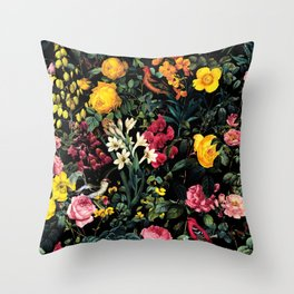 Floral and Birds Pattern Throw Pillow