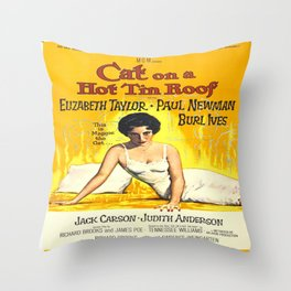 Vintage poster - Cat on a Hot Tin Roof Throw Pillow