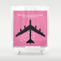 kubrick Shower Curtains featuring No025 My Dr Strangelove minimal movie poster by Chungkong