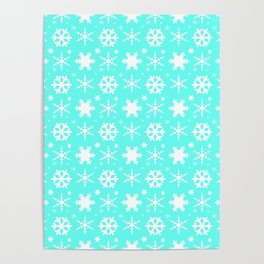 Snowflakes Mint Poster