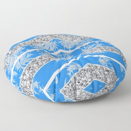Blue and Silver Baroque Inspired Textile Floor Pillow