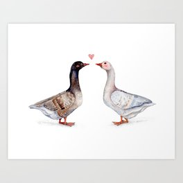 Geese Love Art Print
