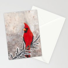 The Red Cardinal in winter Stationery Cards