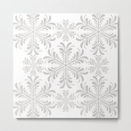 Christmas Snow Flakes in Gray and White Metal Print