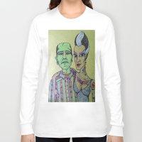 rockabilly Long Sleeve T-shirts featuring Frankenstein Frankenbride Rockabilly by Just Bailey Designs