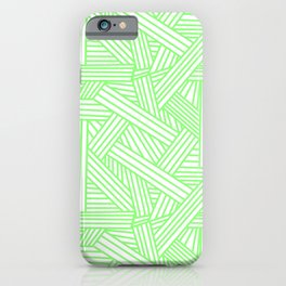 Sketchy Abstract (Light Green & White Pattern) iPhone Case