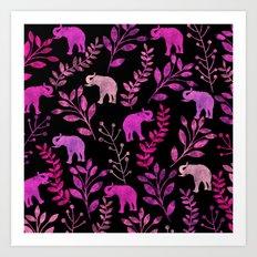 Watercolor Flowers & Elephants III Art Print
