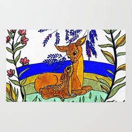 Doe And Fawn In Wildflowers Rug