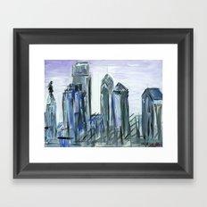 Gray Philadelphia Skyline Framed Art Print