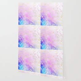 Modern rainbow glitter marble on nebula watercolor ombre Wallpaper