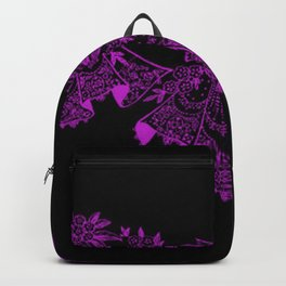 Vintage Lace Hankies Black and Dazzling Violet Backpack