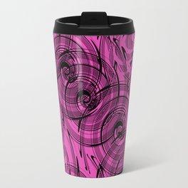 Magenta , black , abstraction , spiral Travel Mug