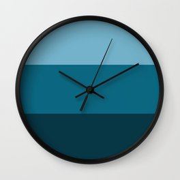 blue striped pattern , (3/4 of sunset color set) Wall Clock