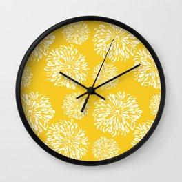 Yellow Zinnias Wall Clock