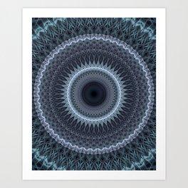 Cold mandala in steel and grey tones Art Print
