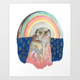 Rainbow Owl with Cloak Art Print