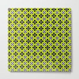 Chartreuse Ornate Flowers Pattern Metal Print